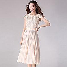 Women's Lace Cutwork Pleated Short Sleeve Dress – USD $ 76.99