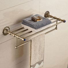 New Wall Mounted Bathroom Towel Shelf Antique Brass Towel Holder With Towel Bar