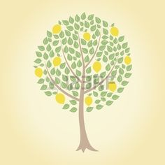 Tree and yellow lemons on it A vector illustration Stock Vector