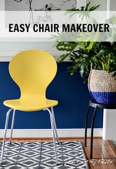 HELLO YELLOW CHAIR MAKEOVER {ONE ROOM CHALLENGE, WEEK 3} - Place Of My Taste