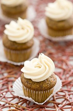 Chocolate & Honey Banana Mini-Cupcakes with Luscious Honey Cream Cheese Frosting