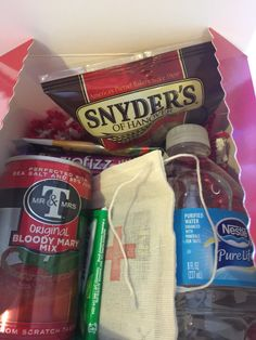 """The mother of all hangover kits! This 6"""" by 6"""" by 4"""" glossy red box contains everything you need for the morning after! It comes nicely boxed or and ready to give as a 21st birthday gift, bachelorette"""