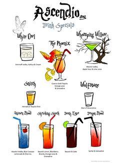 Harry Potter Drinks - I realize the White Owl is a white russian, but it's cute that Dragon's Blood is a shirly temple for the kids.