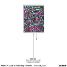 Abstract hand-drawn funky waves texture. table lamp