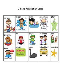 Free S blend articulation cards - Mindy Olson-Pizzey - TeachersPayTeachers.com