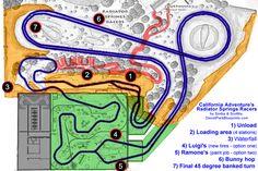 Disney Park Blueprints: Radiator Springs Racers - California Adventure, CA, USA Disney Park Maps, Disney Map, Disneyland Rides, Disneyland Secrets, Disney Rides, Disney Theme, Disneyland Resort, Disney Parks, Disney Stuff