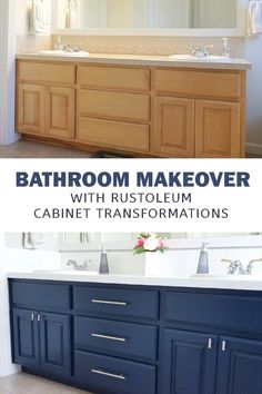 Rust-Oleum Cabinet Transformation Bathroom - Crafting in the Rain - - RustOleum Cabinet Transformations kit can be used on a bathroom vanity. See how to paint a navy bathroom cabinet for a fresh makeover. Diy Bathroom, Bathroom Cabinet Makeover, Bathroom Renovation Diy, Navy Blue Bathrooms, Bathroom Makeover, Rustoleum Cabinet, Painting Bathroom, Painting Bathroom Cabinets, Bathroom Crafts