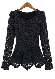 GORGEOUS Black Hollow-out Round Neck Long Sleeve Lace Pullover #black #lace #fashion