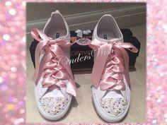Pearl and pink crystal Converse / bridal converse / by CindersWish