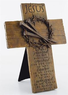 Cross, crown of thorns and nails plaque