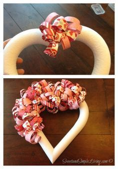 DIY Valentine's Day Heart Wreath made out of paper!! So easy and very colorful!