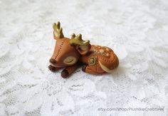 Clay Deer Figurine / Cute Polymer Clay Deer Figure / Deer Sculpture