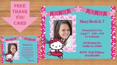 Hello Kitty Birthday Party Invitation. Plus Get The Thank You Card Free!, Custom Design, Printable Invitation, #Hello Kitty 0004 by kellylynn1973 on Etsy