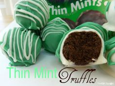Thin Mint Truffles  makes 24 1 9oz box Girl Scout Thin Mints {Or Keebler's Grasshopper Cookies} 4 oz fat free cream cheese, slightly softened 8 oz Guittard's green mint chips * 8oz white chocolate chips or white chocolate bark  In a food processor, pulse the Thin Mints a few times, and them blend them down until they are just crumbs. It mi