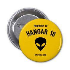 Hangar 18 pinback button #Buttons #Hangar18 #Alien #Ohio #GreyAlien #UFO #Extraterrestrial