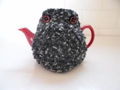 Tea Cosy Black White & Grey hand knitted in bobbly pattern with vintage red buttons x