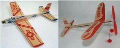 Balsa gliders and rubber band planes
