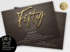 50th Birthday Invitation Editable 50th Invite Black Gold image 0 90th Birthday Invitations, Gold Invitations, Princess Invitations, Unicorn Invitations, Invitation Card Design, Floral Invitation, Invites, Jamel, 18th Birthday Party
