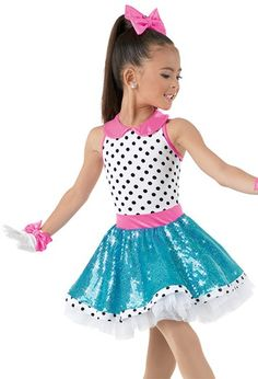 Weissman™ | Polka Dot Dress with Sequin Skirt