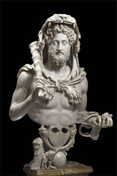 Busto di Commodo come Ercole, 192 dC, marmo. Roma, Musei Capitolini, Galleria dell'Esedra (Foto di Zeno Colantoni)