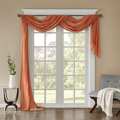 Add a touch of modern elegance to your room with the Madison Park Harper Solid Crushed Sheer Scarf Window Valance. The lightweight sheer fabric is beautifully embellished with crushed detailing for added texture to complement any room's décor. Window Scarf, Scarf Valance, Curtain Scarf Ideas, Drapes And Blinds, Drapes Curtains, Sliding Door Curtains, Sheer Drapes, Valances, Window Treatments Living Room