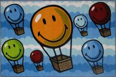 Fun Rugs SW-17 3958 Smiley World Collection Hot Air Balloon Multi-Color - 39 x 58 in.
