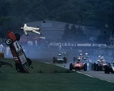 Before Grand Prix cars had seat belts, driver not seriously injured. Vintage Race at Goodwood