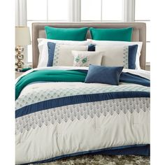 Rollins 8-Pc. King Comforter Set (180 NZD) ❤ liked on Polyvore featuring home, bed & bath, bedding, comforters, striped bedding, striped comforter, king size comforter set, geometric bedding and 8 piece king comforter set