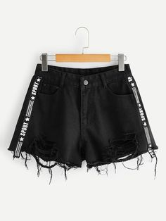 Contrast Letter Ribbon Denim Shorts - Contrast Letter Ribbon Denim Shorts Source by sofiacharms - Girls Fashion Clothes, Teen Fashion Outfits, Girl Fashion, Fashion Black, Paris Fashion, Cute Casual Outfits, Short Outfits, Summer Outfits, Ripped Denim