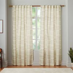Mid-Century Cotton Canvas Etched Grid Curtains (Set of 2) - Slate #westelm