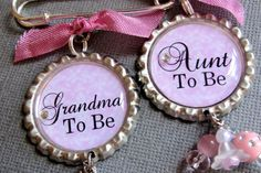 Gave one of these to my Mom and 'Great Grandma To Be' pins to my grandmothers to tell them our news.