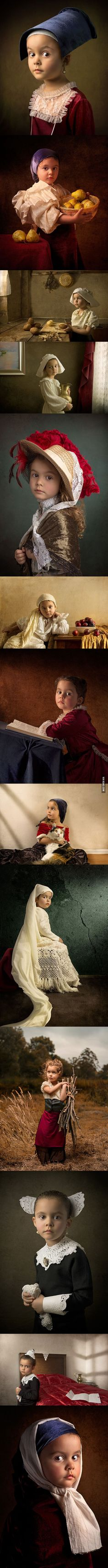 Father photographs his 5-year old daughter in the settings of Renaissance Dutch, Flemish, and Italian masters