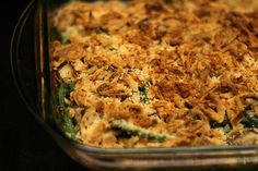 Green bean casserole with Madeira mushrooms and chicken