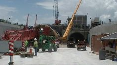 """2013:  On-site of the """"Port of Miami Tunnel Construction"""" project while preparing for cellular phone tower/antenna installation."""