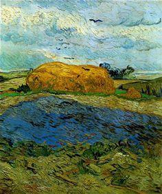 van gogh, haystack under a rainy sky, 1890
