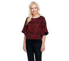 Susan Graver Printed Sweater Knit Dolman Sleeve Scarf Top