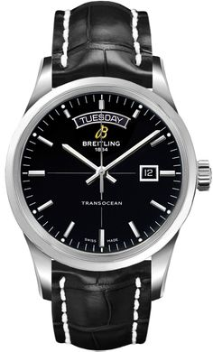 Breitling Transocean Day Date Men Auto Black Dial Leather Strap Watch  A4531012 BB69 Free Overnight 7d163291ee