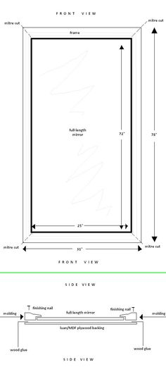 diy frame for full length mirror. Use little plastic clips to affix mirror to frame on the back - Home Decorating Magazines Closet Mirror, Hallway Mirror, Mirrors, Mirror Crafts, Diy Mirror, Framing A Full Length Mirror, Plastic Clips, Bad Picture, Houses