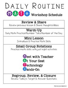 Guided Math Workshop Organization