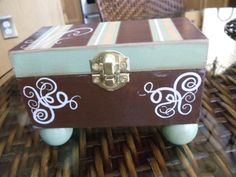 Hand Painted Box Jewelry Box Trinket Box by BlingNThingsbyPenny