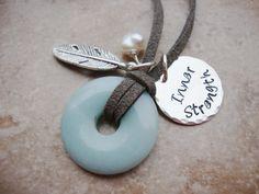 Inner Strength Amazonite freshwater pearl inspirational necklace cervical cancer survivor