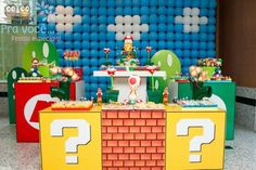Mario Bro's Party by Kara's Party ideas Super Mario Bros, Super Mario Party, Super Mario Birthday, Mario Birthday Party, Super Mario Brothers, Birthday Parties, 8th Birthday, Birthday Ideas, Nintendo Party