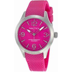 Nautica Hot Pink Dial Hot Pink Resin Ladies Watch ($43) ❤ liked on Polyvore featuring jewelry, watches, unisex jewelry, resin crown, hot pink watches, analog wrist watch and analog watches