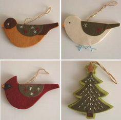felt bird christmas ornaments