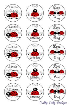 "Ladybug Bottle Cap Images 1"". $1.75, via Etsy."