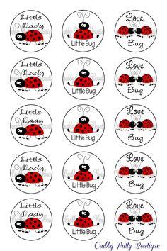 """Ladybug Bottle Cap Images 1"""". $1.75, via Etsy."""