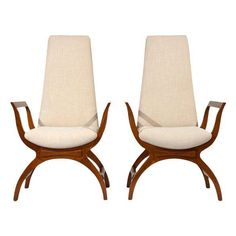 Pair of Mid-Century Modern-style Tall Back Lounge Chairs