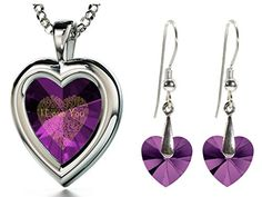 925 Silver Purple Heart Jewelry Set I Love You Necklace 120 Languages CZ Inscribed and Crystal Earrings *** Continue to the product at the image link.