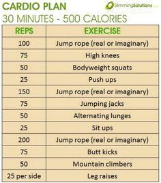 Burn 500 calories in 30 minutes with this easy to follow cardio exercise workout plan by corinne