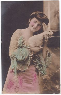 """Vintage moment - bunny cuddling! Very old portrait of a young woman with a rabbit. """"Hello fellow bunny/rabbit enthusiasts, I got this photo off the German Ebay site."""""""